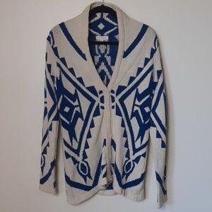 Women's tribal print button up sweater medium